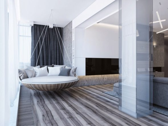 Стильная круглая подвесная кровать