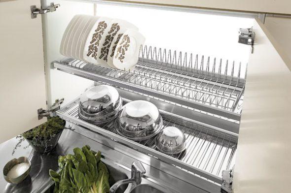 сушка для посуды в шкафу