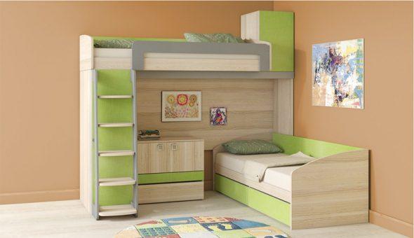 Угловая детская двухъярусная кровать