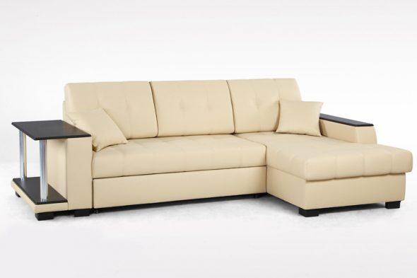 угловой диван-кровать бежевого цвета