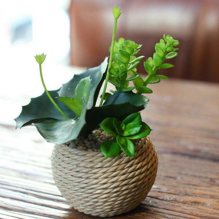 декор вазы бечевкой