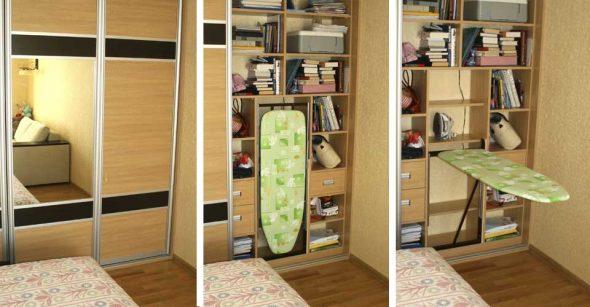 В помощь хозяйке — гладильная доска, встроенная в шкаф.