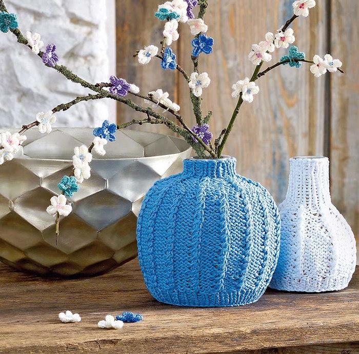 декор вазы вязаный