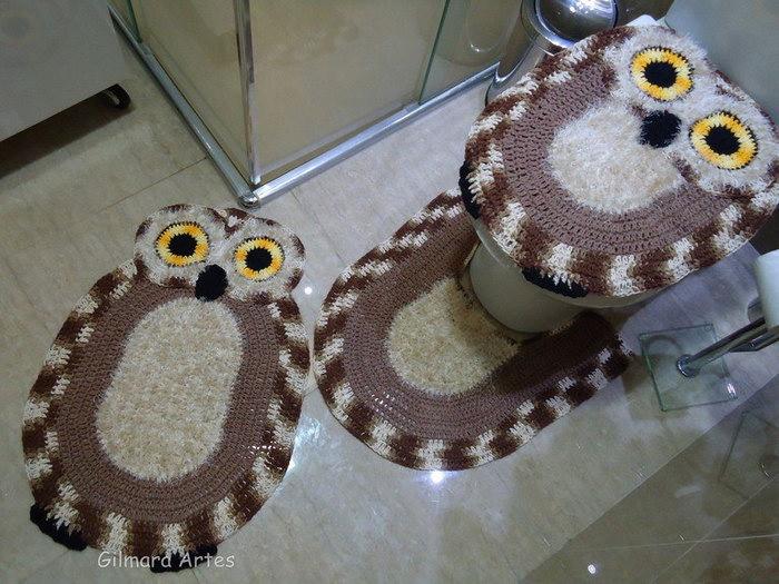 вязаный коврик сова фото дизайн