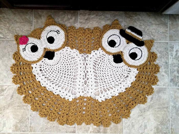 вязаный коврик сова фото оформления