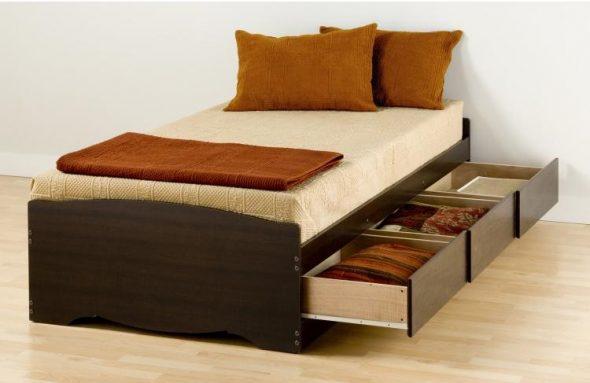 выдвижные ящики в односпальной кровати